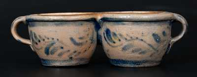 Rare Western PA Stoneware Conjoined Cups w/ Profuse Cobalt Vining and Stripe Decoration