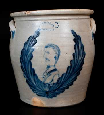 Important M. & T. MILLER / NEWPORT, PA Stoneware Jar w/ Man's Bust in a Wreath