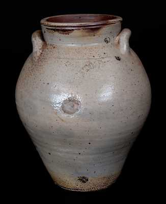 BOSTON Iron-Dipped Stoneware Jar, circa 1800