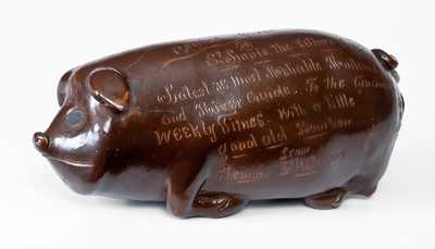 Exceptional Anna Pottery Pig Bottle from Steamboat Fleetwood to the Cincinnati Weekly Times