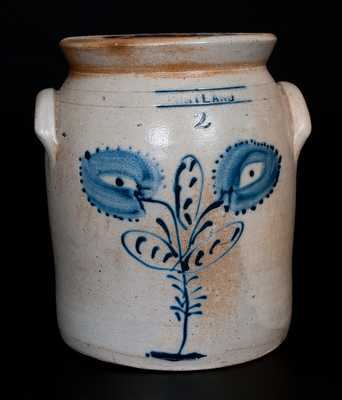 CORTLAND (NY) Stoneware Jar with Cobalt Floral Decoration