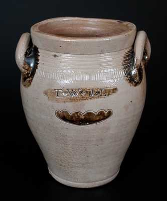Rare T. W. + J. L. (Thomas Warne & Joshua Letts) Stoneware Jar, South Amboy, NJ, early 19th century