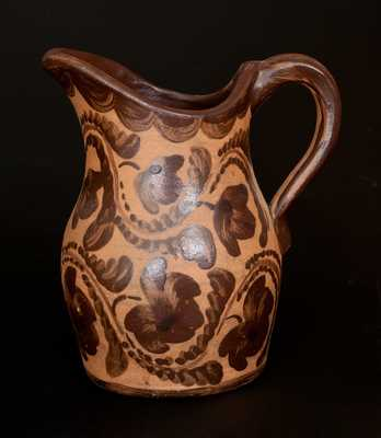 Very Rare Ornate Western PA Tanware Pitcher w/ Elaborate Freehand Fuchsia and Drape Decoration