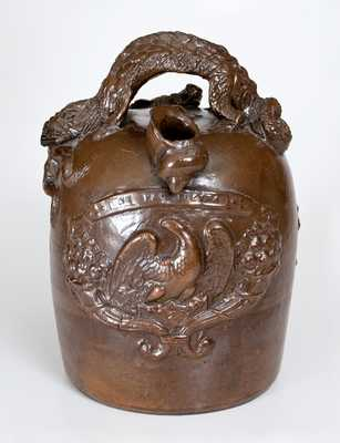 Exceptional Ohio Stoneware Harvest Jug w/ Elaborate Applied Designs