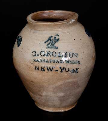 Important Clarkson Crolius, Manhattan, NY Stoneware Eagle Jar