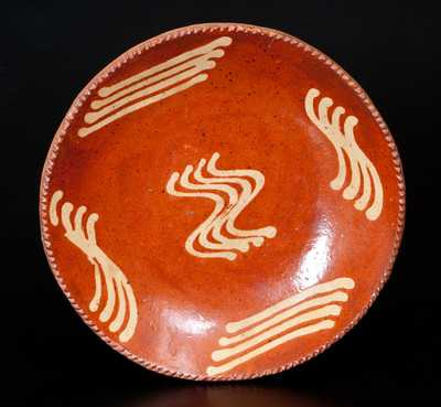 Fine Slip-Decorated Redware Plate, Northeastern U.S., possibly Philadelphia, PA