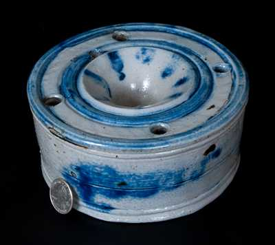 Rare Large-Sized Stoneware Master Inkwell with Elaborate Cobalt Decoration, probably New York State