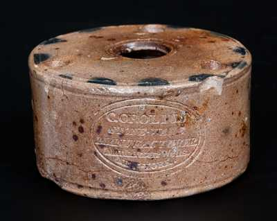 Rare C. CROLIUS / STONE-WARE ... Manhattan-Wells. / NEW-YORK Inkwell w/ Incised Name on Top