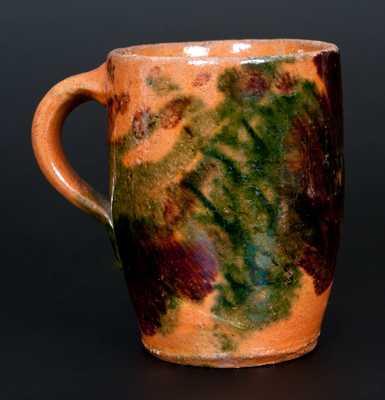 Multi-Glazed Redware Mug, Strasburg, VA, circa 1890
