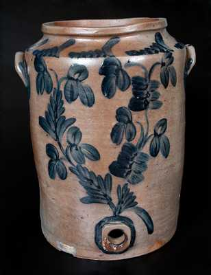 Large Baltimore, MD Stoneware Water Cooler w/ Profuse Cobalt Floral Decoration
