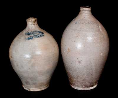 Lot of Two: Hartford, CT Ovoid Stoneware Jugs Marked D. GOODALE and GOODWIN & WEBSTER