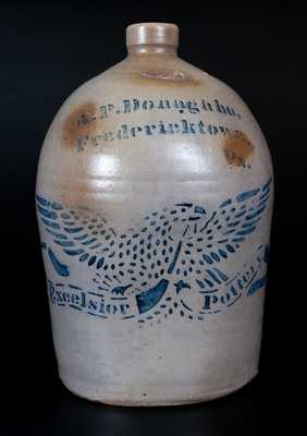 Scarce A.P. Donaghho / Fredericktown, Pa. / Excelsior Pottery Stoneware Eagle Jug