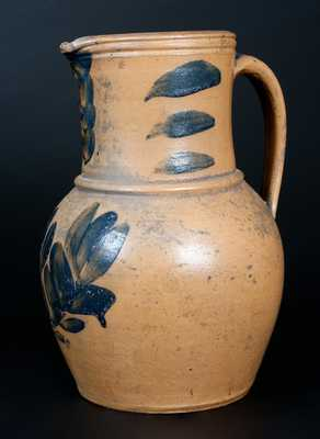 Rare J. SWANK & CO. / JOHNSTOWN, PA Stoneware Pitcher w/ Elaborate Cobalt Floral Decoration