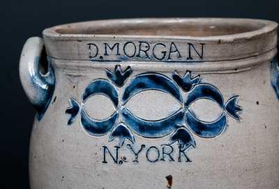 Important D. MORGAN / N. YORK Stoneware Jar w/ Impressed Drape and Tassel Decoration