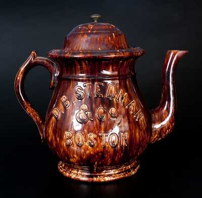 Large D.B. STEDMAN & CO. / BOSTON Rockingham Teapot by SPEELER POTTERY CO., Trenton, NJ