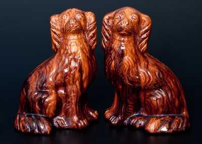 JOHN BELL (Waynesboro, PA) Pair of Redware Spaniel Dogs