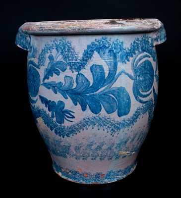 I. BELL (John Bell, Chambersburg or Waynesboro, PA) Six-Gallon Tin-Glazed Redware Jar