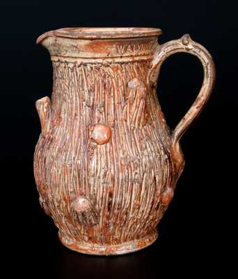 W.A. LYNN (Mechanicstown (now Thurmont), MD) Redware Stump Pitcher, possibly Anthony Bacher