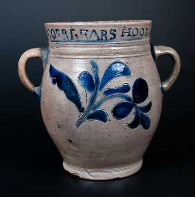 COERLEARS HOOK / N. YORK Incised Stoneware Jar, Thomas Commeraw, Manhattan, NY