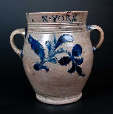 Important Thomas Commeraw Half-Gallon Stoneware Jar, COERLEARS HOOK / N. YORK, late 18th century
