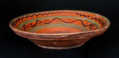 Rare Shenandoah Valley Redware Bowl w/ Profuse Slip Decoration, probably Hagerstown, MD