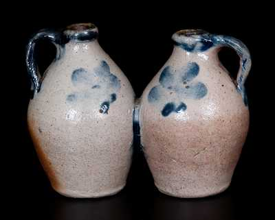 Miniature Stoneware Gemel (Double Jug), probably New-Haven, Connecticut, c1830