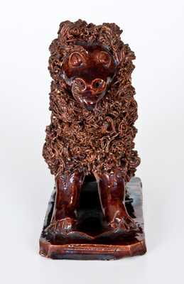 Very Rare Redware Dog with Elaborate Coleslaw Fur att. Anthony Baecher