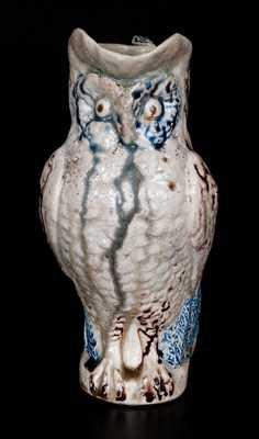 Stoneware Owl Pitcher, attrib. Kirkpatrick Brothers, Anna Pottery