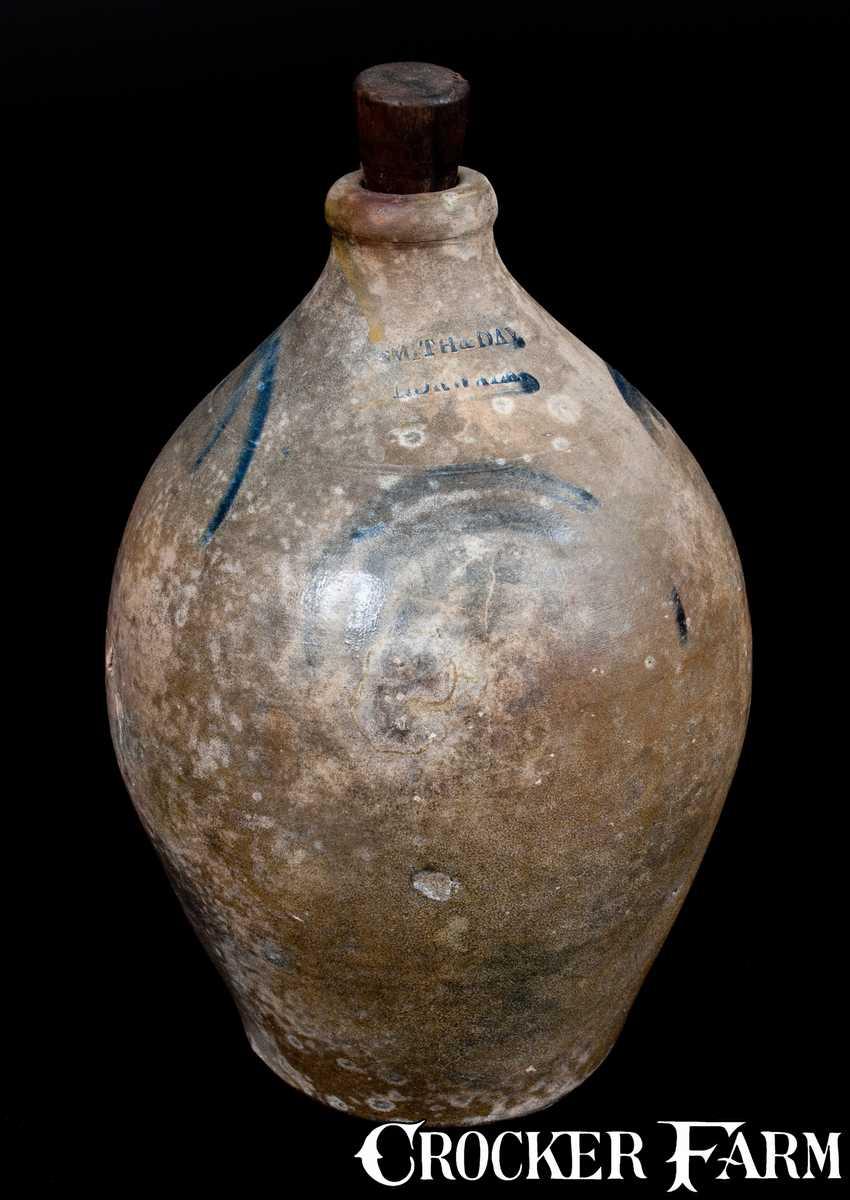 SMITH & DAY / NORWALK Decorated Ovoid Stoneware Jug -- Lot ...