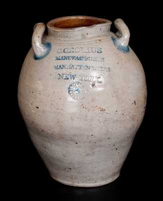 Outstanding C. CROLIUS Stoneware Jar w/ Impressed Rosettes and Incised Decoration, Manhattan, early 19th century
