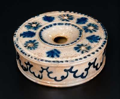 Outstanding Large-Sized Stoneware Inkwell w/ Elaborate Slip-Trailing, att. John B. Caire, Poughkeepsie, NY, c1840