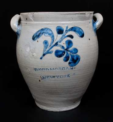 Exceedingly Rare DAVID MORGAN (Manhattan) Stoneware Jar w/ Bold Incised Floral Decoration, c1800
