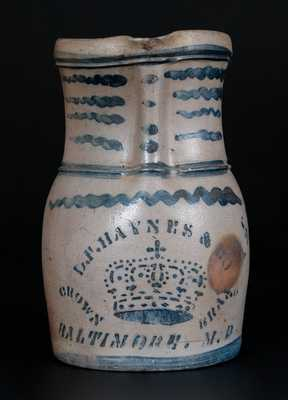 Outstanding D.F. HAYNES & CO. / CROWN BRAND / BALTIMORE, MD Stoneware Advertising Pitcher