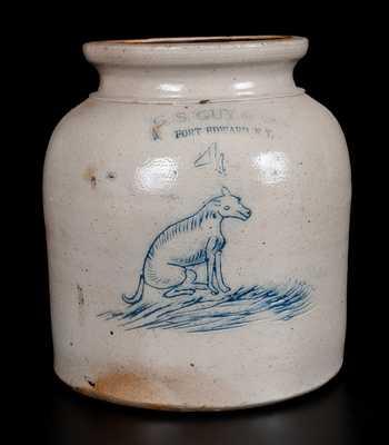 Extremely Rare G. S. GUY & CO. / FORT EDWARD, NY Stoneware Jar w/ Incised Dog
