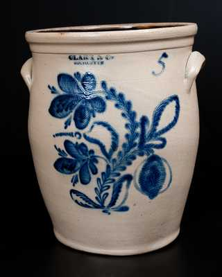 CLARK & CO. / ROCHESTER Five-Gallon Stoneware Jar w/ Elaborate Floral Decoration