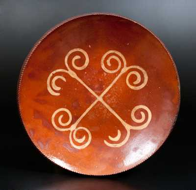 Slip-Decorated Redware Plate, Huntington, Long Island, New York origin, circa 1807-60