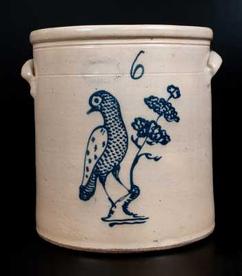 J. BURGER, JR. / ROCHESTER, NY Six-Gallon Stoneware Jar w/ Elaborate Bird and Tree Decoration