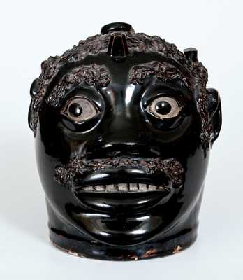Exceptional Stoneware Face Jug, John Dollings, White Cottage, Ohio, circa 1870