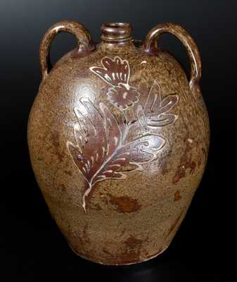 Exceptional Collin Rhodes, Edgefield, SC Stoneware Jug w/ Elaborate Two-Color Slip Floral Decoration, c1845