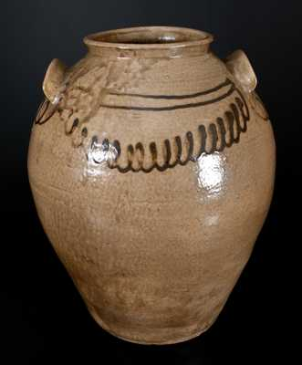 Rare att. Thomas Chandler, Edgefield, SC Stoneware Jar with Iron Slip Decoration