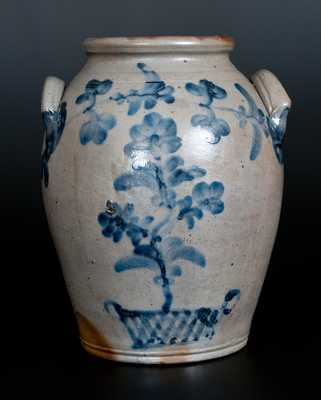 Philadelphia Stoneware Jar w/ Elaborate Floral Basket Decoration att. Henry H. Remmey, c1840