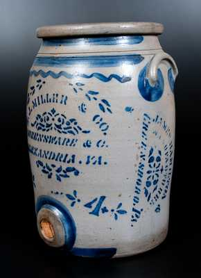 Very Rare E. J. MILLER / ALEXANDRIA, VA Stoneware Advertising Water Cooler w/ JAMES HAMILTON / GREENSBORO, PA Maker's Stencil