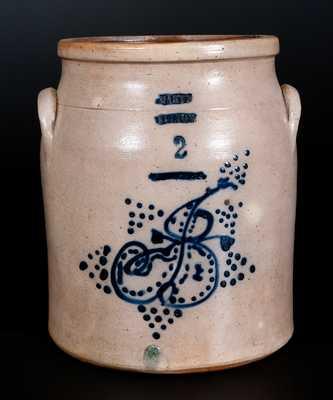 Rare HART'S / FULTON (NY) 1874 Dated Stoneware Jar w/ Slip-Trailed Humanoid Figures