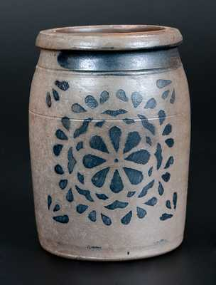 Western PA Stoneware Jar with Stenciled Floral Design