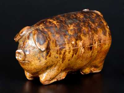 Unusual Rockingham Pig Flask with Manganese Sponging, probably Midwestern, circa 1875-95