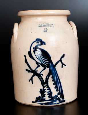 J. & E. NORTON / BENNINGTON, VT Stoneware Jar w/ Bold Pheasant-on-Stump Decoration