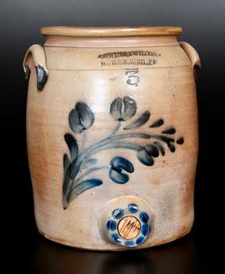Very Rare COWDEN & WILCOX / HARRISBURG, PA Stoneware Water Cooler w/ Spotted Bung Hole