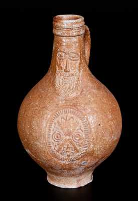 Bellarmine Stoneware Jug w/ Bearded Man and Medallion, probably Frechen, Germany, 16th or 17th century