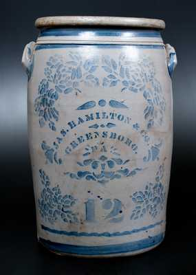 12 Gal. JAS. HAMILTON & CO. / GREENSBORO, PA Stoneware Jar w/ Stenciled Roses