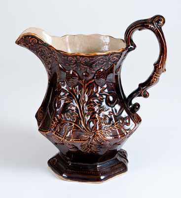 Rare AMERICAN POTTERY CO. / JERSEY CITY, N.J. Rockinghamware Pitcher with Thistle Pattern